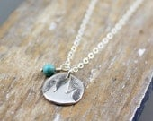 Little Mountains and Turquoise Necklace Silver