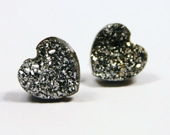 Silver Druzy Heart Stud Earrings Metallic Love Bold Genuine Titanium Drusy Quartz Gemstone Jewelry for Women Sterling Silver Posts Wedding