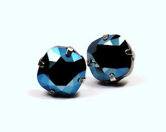 Metallic Blue Crystal Stud Earrings Classic Slate Gunmetal Steel Sparkling Solitaire Swarovski 12mm  Sterling Post Copper Rare Limited Cool