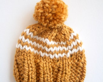 Hand Knit Baby Beanie with Pom Pom in Mustard Yellow