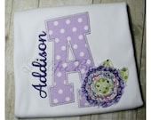 Initial Shirt ~ Raggy Flower ~ Purple Polka Dot ~ Tshirt ~ Tee ~ Bodysuit ~ Personalized ~ Monogrammed ~ Applique ~ Girl