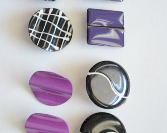 Vintage 1980s Black and Purple Clip Earrings Lot of 4