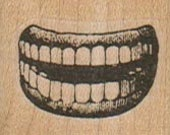 Lips & Teeth   rubber stamps place cards gifts  unmounted cling stamp or wood mounted 5895