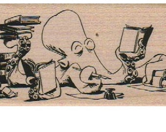 Rubber stamp Book Signing by Brian Kesinger 2 x 4 1/2   Octopus   wood, unmounted or cling stamp19252