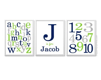 Navy Lime Grey Baby Boy Nursery Decor, Baby Room Art, Alphabet Art Numbers Art, Nursery Prints, Kids Wall Art,  ABC 123,  8x10, 11x14