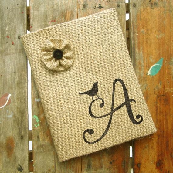 Bird Letter Monogram Burlap Journal Cover w by