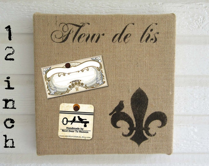 Fleur de Lis with Bird - Burlap covered Cork Message Board 12 inch