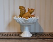 Vintage Milk Glass English Hobnail Compote