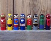 Superhero Peg People - Set of 8 Wooden Hand Painted peg dolls, superhero toy, wood superhero toy,