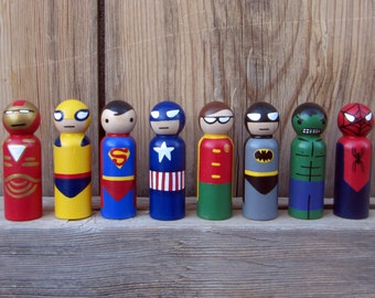 Superhero- SET OF 8-  Peg People - Wooden Hand Painted peg dolls, superhero toy, wood superhero toy,