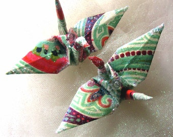 Bollywood in Kashmir Peace Crane Bird Wedding Cake Topper Party Favor Origami Christmas Ornament Paper Table Decoration Burgundy Coral Green