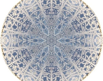 Mandala Art, Abstract Nature Print, Geometric Art Print, Peaceful Round Art, Fine Art Print in Icy Blue