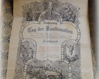 antique 1889 victorian era confirmation certificate . day of confirmation dated 31 marz 1889 bertha albertine duden