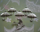 Umbrella Charms Silver Tone Jewelry Charms/Collage/Crazy Quilt on Etsy x 6