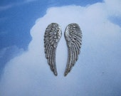 Angel Wing Pair Antique Silver Tone Small Angel Doll Charms on Etsy x 1 Pair