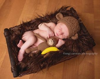 Little Monkey Photo Prop/Costume Set,  Newborn size, Made to Order