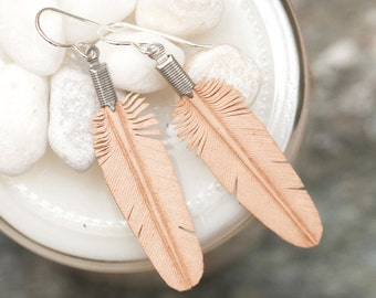mini hand carved leather feather earrings - natural tan