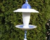 Recycled Plate Bird Feeder Garden Art-Blue and White