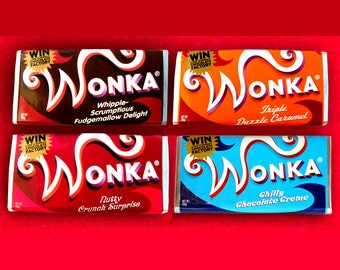 Willy Wonka Charlie and the Chocolate Factory  4 different  reproduction prop WONKA BARS plus 1 repro Golden Ticket