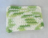 Cotton Crochet Sponge, bright green and white, triple layer thick, reusable alternative to sponge or dishcloth