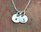 sterling silver letter necklace-silver initial necklace-letter charm necklace-initial charm necklace-minimalist jewelry