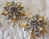 Vintage Silver and Gold Rhinestone Snowflake Earrings