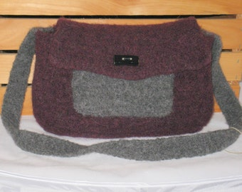 Felted Purse in Plum and Grey Heather
