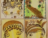 Set of 4 ACEO Original Henna Ink Art, Ink Doodle, Portrait, Mixed Media, Wholesale Art, Folk, Whimsical, OOAK