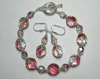 Pink Crystal Bracelet and Earring Set