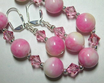Pink Bracelet and Earring Set in Silver with Swarovski Crystals