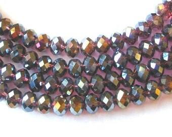 Dark Rose Pink 6x8mm AB Crystal Rondelle Beads (70)