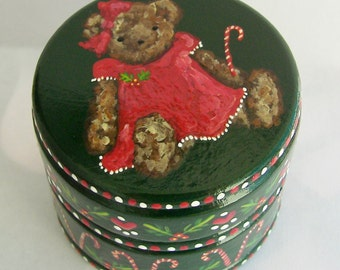 Hand Painted Love Boxes Holly Christmas Bear Dark Green Box Wood