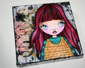 Mixed Media, Grunge, Big Eyed Girl, Mini Canvas, Art Original, Canvas Art, 8x8 Canvas