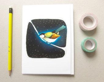 Greeting Card - Bird Greeting Card - Blank Card - Bird Stationery - Night Bird