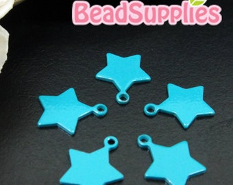 CH-ME-10132G - Color enameled, Star Tag. turquoise blue, 8 pcs