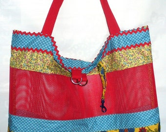 Large Market Bag ** Tote Bag ** Book Bag ** Purse ** Shoulder Bag with Pet Screen Mesh