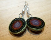 Tabasco Geode Druzy, sterling silver hook style earwire, earrings