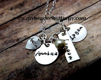 personalized necklace-sterling silver necklace-mommy  neklace-charm necklace-4 children-pearl