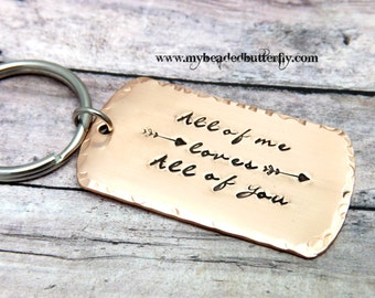 all of me loves all of you- key chain-mens key chain-groom gift-bridal gift-personalized keychain