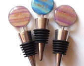 """Wine Stopper Fun Quotes: Your choice of """"Got Wine?"""", """"Wine-O"""", """"Wine not?"""" polymer clay bottle top quip saying striped gift gold."""