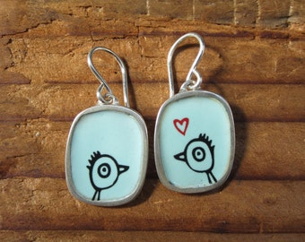 Love Bird Earrings - Silver and Enamel Bird Earrings