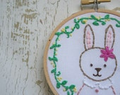 Embroidered Art Hoop - Bunny Embroidered Hoop