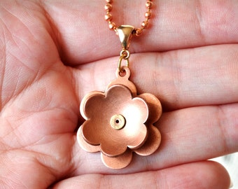 Riveted Copper Flower Pendant 3D Kinetic Spinning Flower Necklace in Copper and Brass on Copper Ball Chain