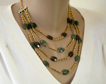 Smokey Quartz, Green Nephrite and Gold Plated Fancy Link Four Strand Necklace  OOAK