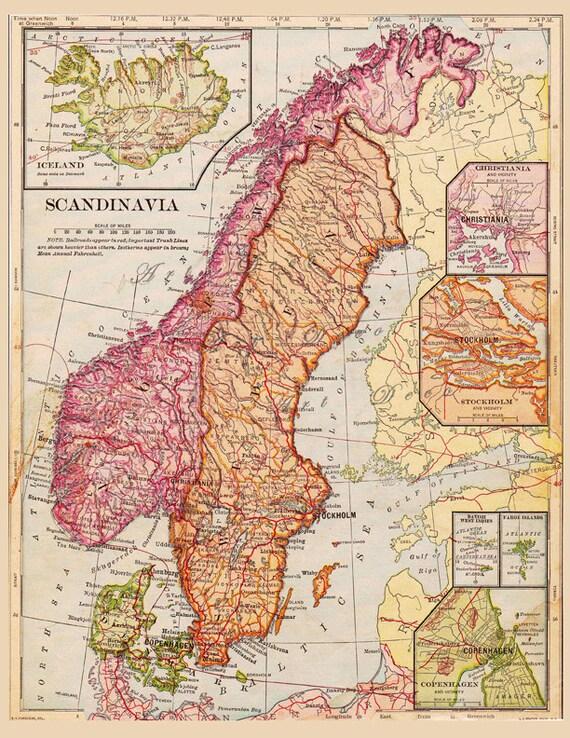 Old Map of Finland, Sweden, Norway, Iceland Antique Map Digital Download no. 336