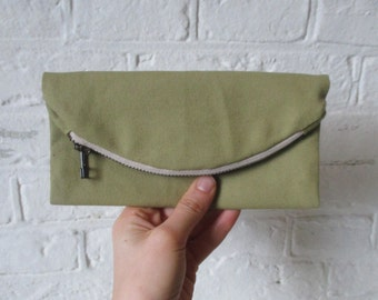 Sage canvas large wallet/ fold over clutch, vegan light green womens oversized wallet