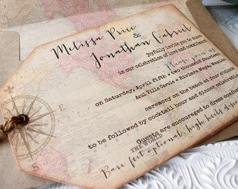 Vintage World Map Destination Wedding Invitation  Compass Hinged Shipping Tags Set of Ten