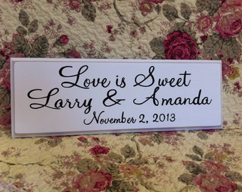 Love is Sweet Custom Personalized SIGN Wood Your Color Wedding Candy Bar Cake Table