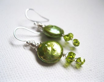 Green Coin Pearl & Swarovski Vine Earrings - UK Seller