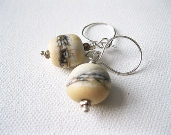 Cream Artisan Lampwork & Sterling Silver Earrings UK Seller  Nature Inspired Coastal Beach Wedding Jewellery  Contemporary Jewellery